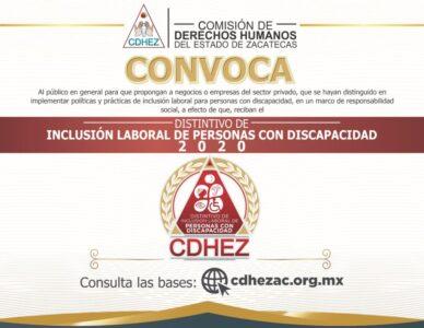 """LA CDHEZ CONVOCA A PARTICIPAR POR EL """"DISTINTIVO DE INCLUSIÓN LABORAL DE PERSONAS CON DISCAPACIDAD"""" 2020"""